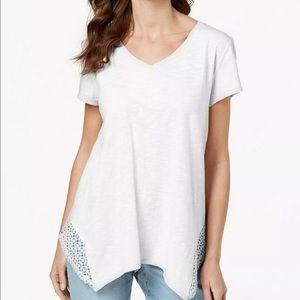 Style & Co. Crochet Handkerchief Hem T-Shirt